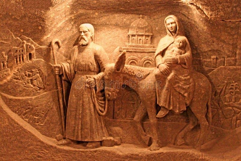 Salt decorations in Wieliczka Salt Mine royalty free stock image