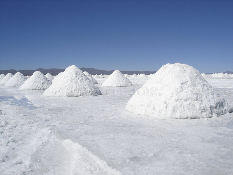 Salt Desert. Desert full of salt piles in Chile. Great horizon and beautiful blue sky