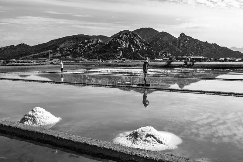 Salt evaporation pond in central of Vietnam. Asian traditional slat field stock photography