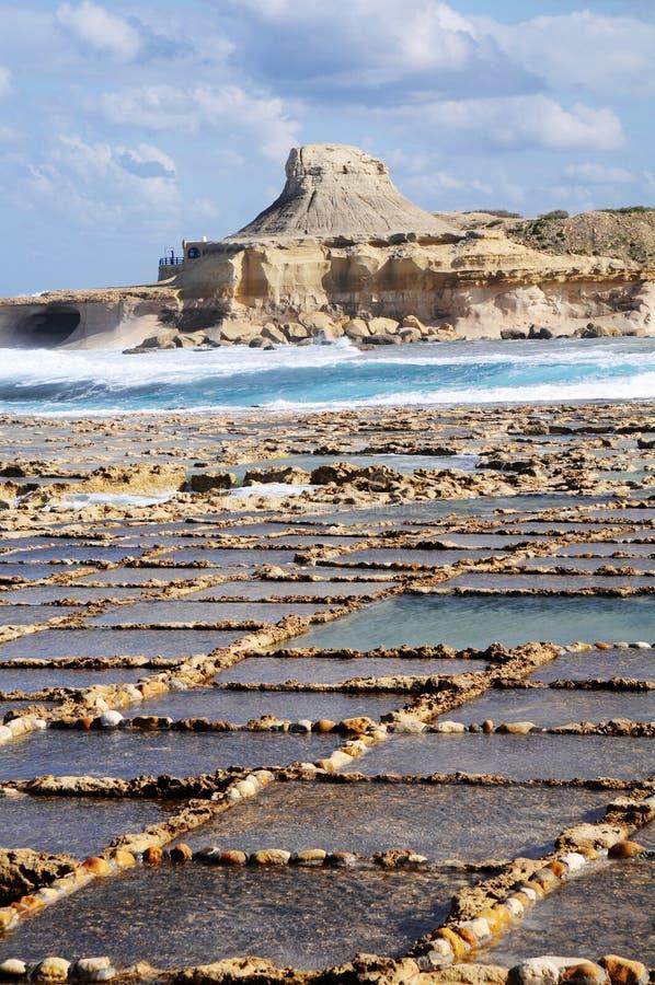 Salt evaporation ponds. Off the coast of Gozo royalty free stock image