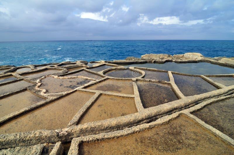 Salt evaporation ponds. Off the coast of Gozo, Malta stock photo