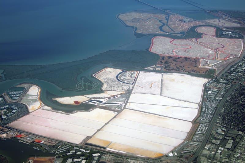 Salt evaporation ponds. Aerial view of salt evaporation ponds near Redwood City, California royalty free stock photo