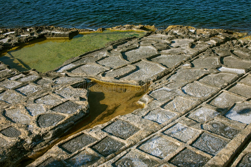 Salt evaporation ponds, Malta.  royalty free stock images