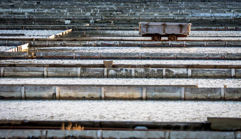 Salt evaporation ponds in Secovlje. View of Salt evaporation ponds in Secovlje stock photography
