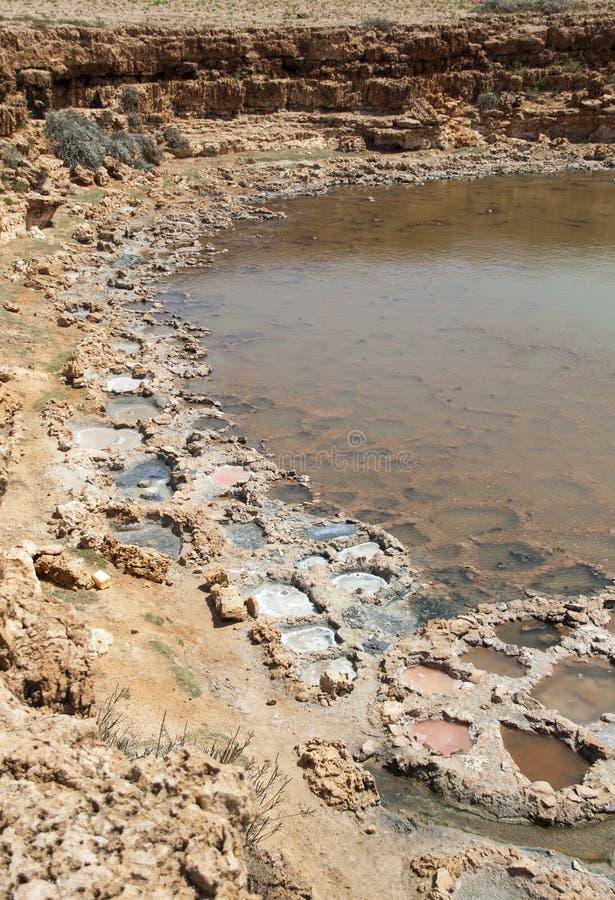 Salt evaporation ponds. Socotra island, Yemen stock image