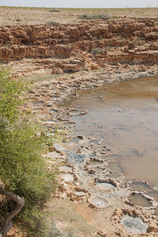 Salt evaporation ponds. Socotra island, Yemen stock photos