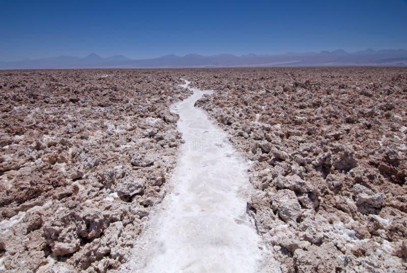 Salt Field. Path through the salt field in San Pedro de Atacama, Chile royalty free stock photo