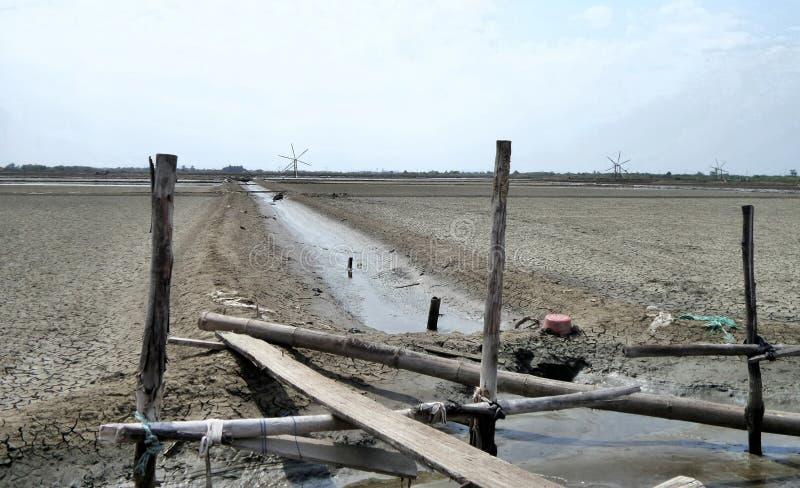 Salt field in sunny day. Salt field under sun light in Samut Sakorn Province Thailand royalty free stock images