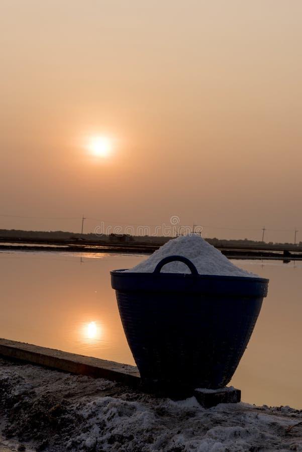 Salt field. Sunrise at Salt field in thailand stock photo