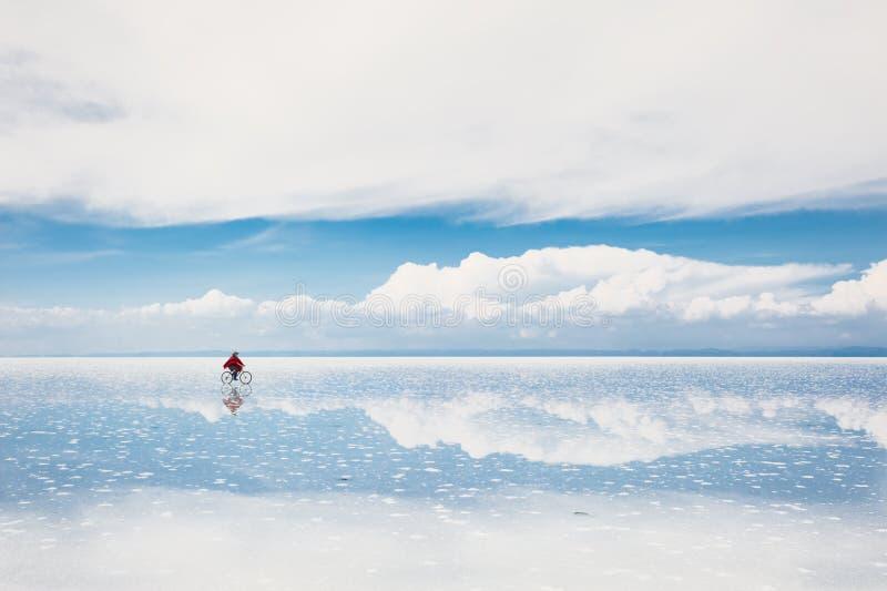 Salt flat Salar de Uyuni, Altiplano, Bolivia. Mirror surface on salt flat Salar de Uyuni, Altiplano, Bolivia royalty free stock photo