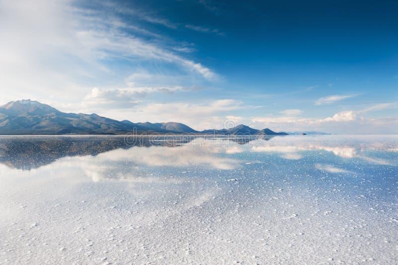 Salt flat Salar de Uyuni, Bolivia. Mirror surface on the salt flat Salar de Uyuni, Altiplano, Bolivia royalty free stock photo