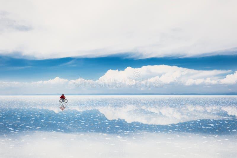 Salt flat Salar de Uyuni, Bolivia. Mirror surface on the salt flat Salar de Uyuni, Altiplano, Bolivia stock images