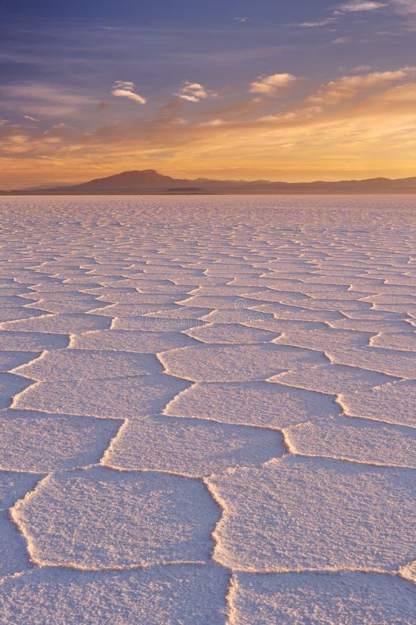 Salt flat Salar de Uyuni in Bolivia at sunrise. The world's largest salt flat, Salar de Uyuni in Bolivia, photographed at sunrise stock images