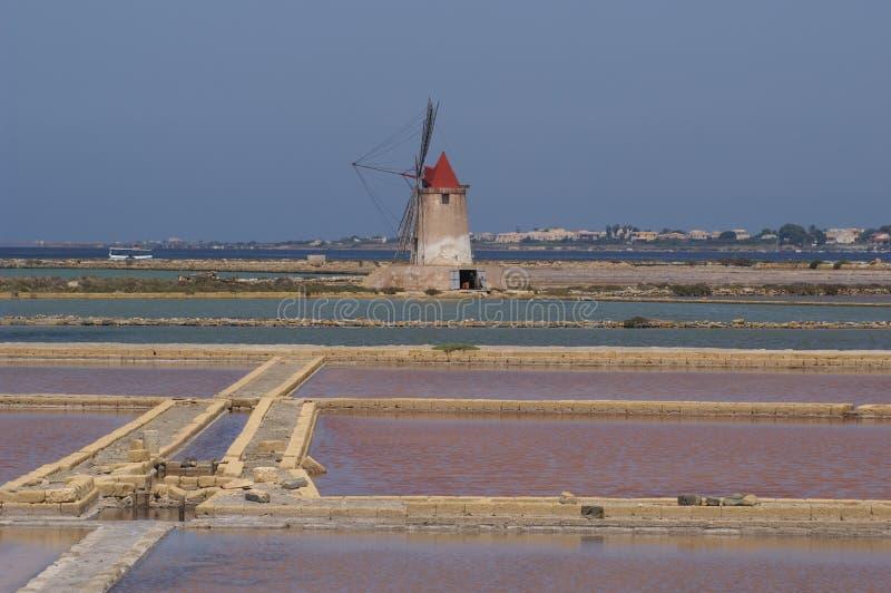 Salt flat Sicilia royalty free stock photos