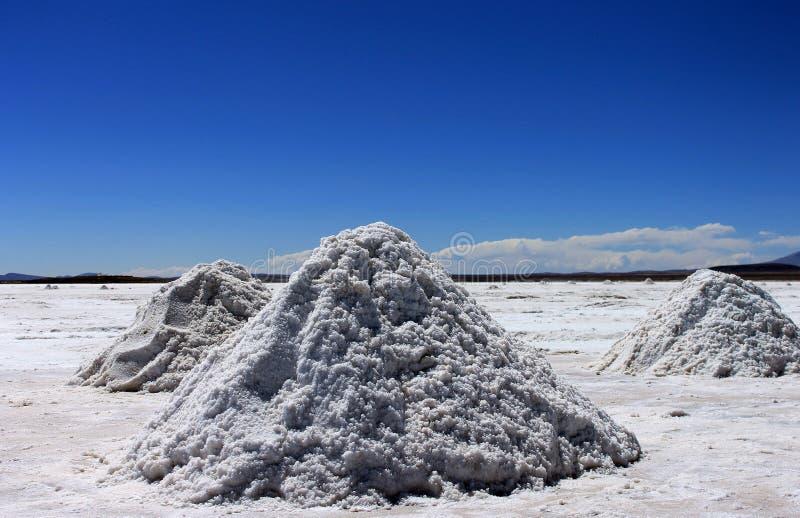 Salt flats, Uyuni, Bolivia. Little mountains of salt in Salar de Uyuni in Bolivia royalty free stock photography