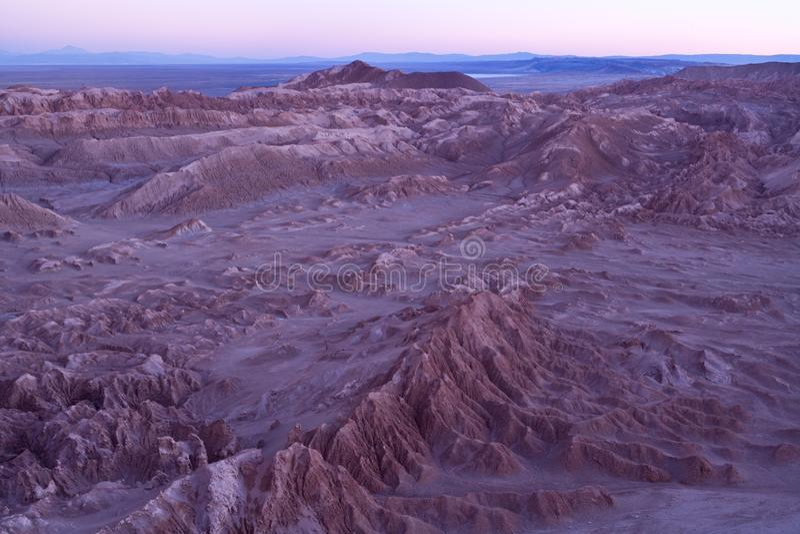 Salt formations at Valle de la Luna spanish for Moon Valley, also know as Cordillera de la Sal spanish for Salt Mountain Range royalty free stock photo
