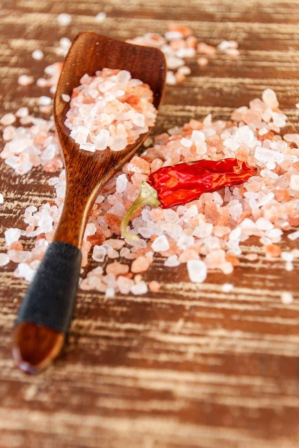 salt himalayan pink Kök saltar och chilipeppar Kryddor på galler royaltyfri fotografi