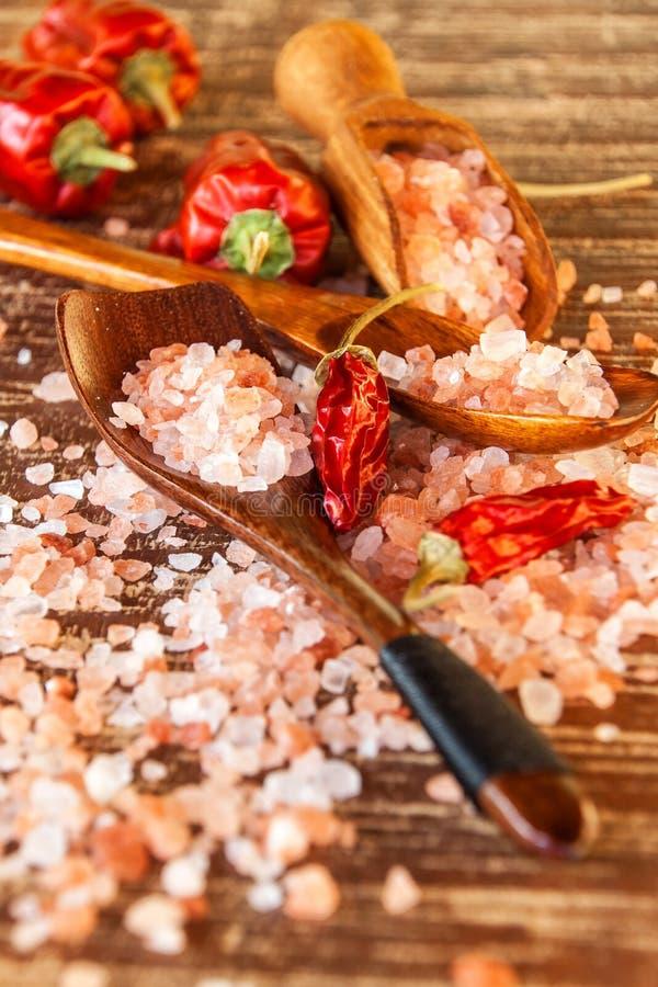 salt himalayan pink Kök saltar och chilipeppar Kryddor på galler royaltyfria foton