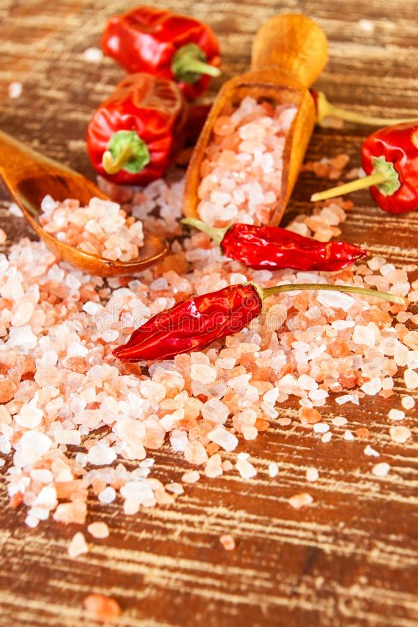 salt himalayan pink Kök saltar och chilipeppar Kryddor på galler royaltyfri bild