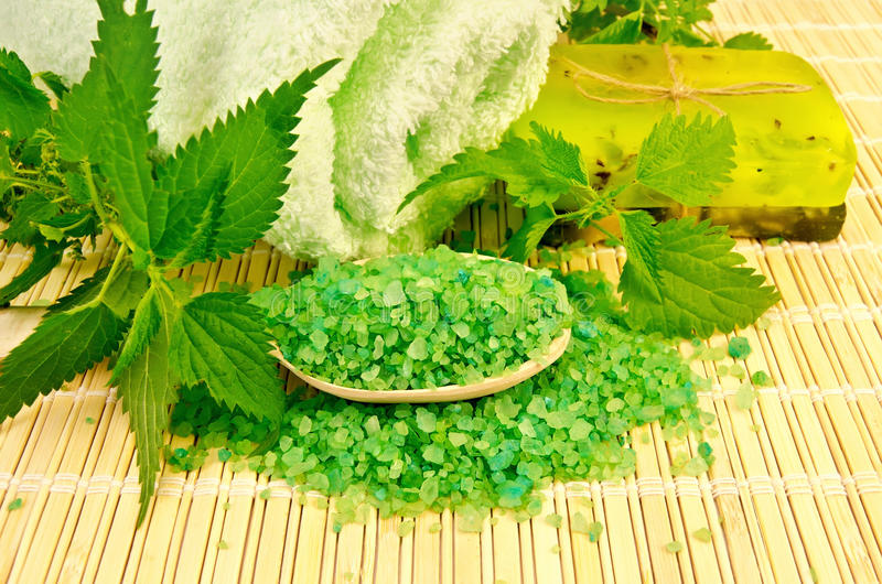 Download Salt And Homemade Soap With Nettles Stock Photo - Image of leaf, hygiene: 27333744