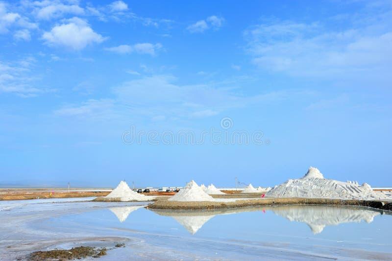 Salt lake. Piles of salt at Caka Salt Lake, China stock photography