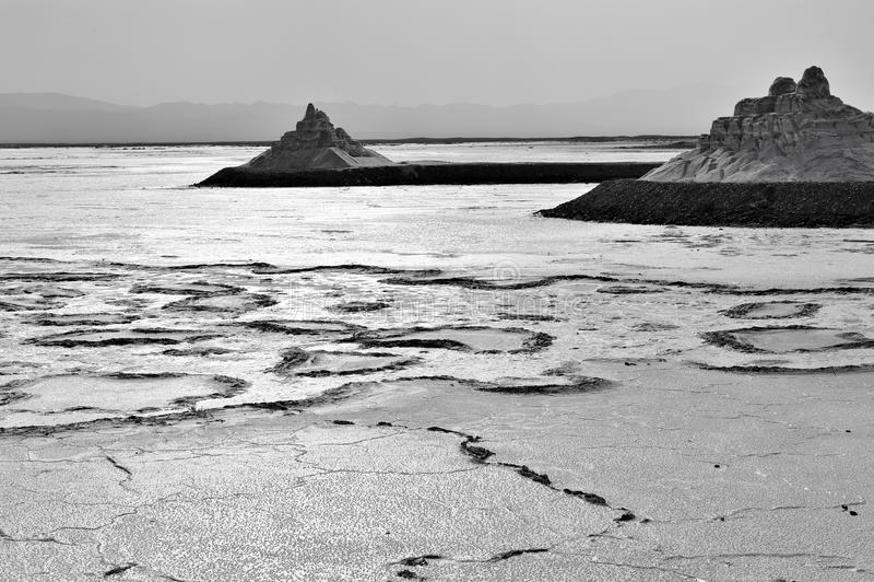 Salt lake. Piles of salt at Caka Salt Lake, China stock photo