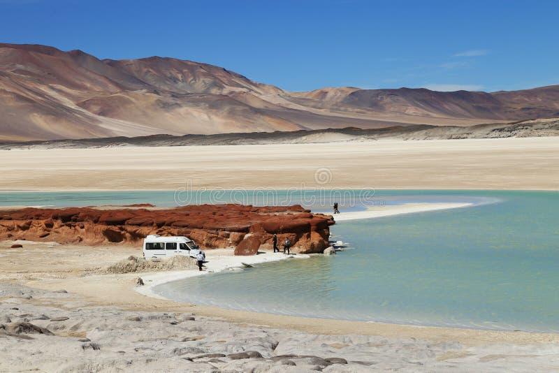 Salt Lake in Atacama-woestijn, Chili stock afbeelding