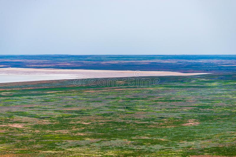 Salt lake Baskunchak. Astrakhan region. Russian landscape. Production, extraction, beach, beautiful, desert, health, mineral, salted, natural, nature, drone royalty free stock photography