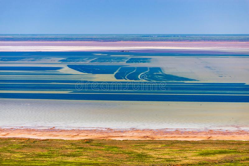 Salt lake Baskunchak. Astrakhan region. Russian landscape. Production, extraction, beach, beautiful, desert, health, mineral, salted, natural, nature, drone stock photo