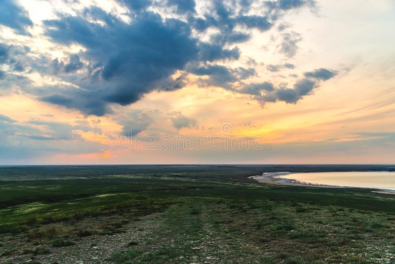 Salt lake Baskunchak. Astrakhan region. Russian landscape. Production, extraction, beach, beautiful, desert, health, mineral, salted, natural, nature, drone royalty free stock image