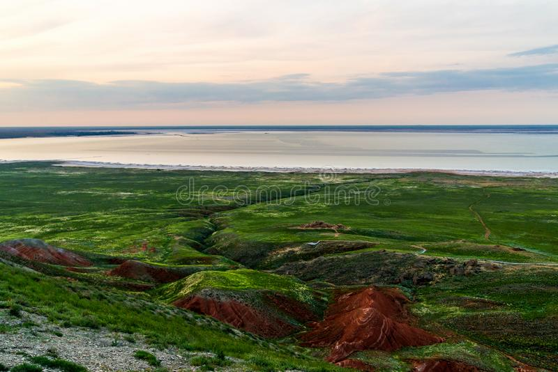 Salt lake Baskunchak. Astrakhan region. Russian landscape. Production, extraction, beach, beautiful, desert, health, mineral, salted, natural, nature, drone stock images