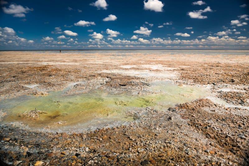 Salt lake Baskunchak on a Sunny day stock photo