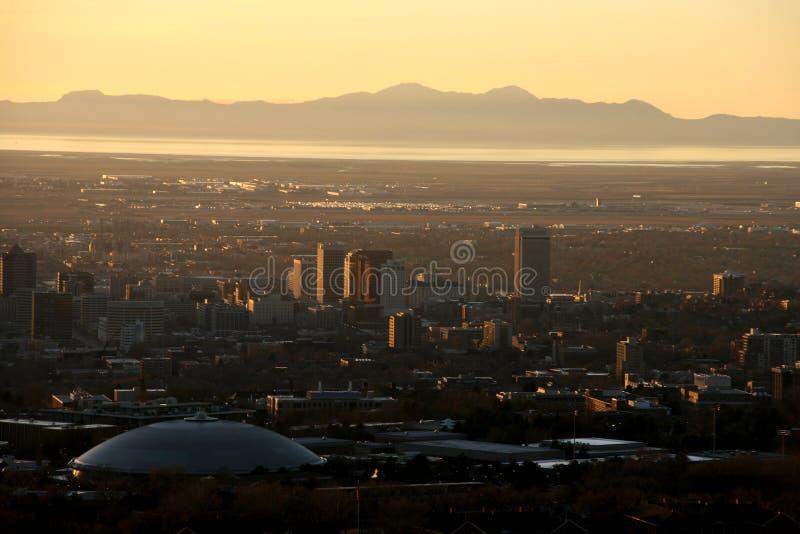 Salt Lake City al tramonto fotografie stock