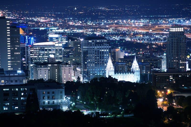 Salt Lake City Downtown. At Night. Salt Lake City, Utah, United States. Summer Night royalty free stock image