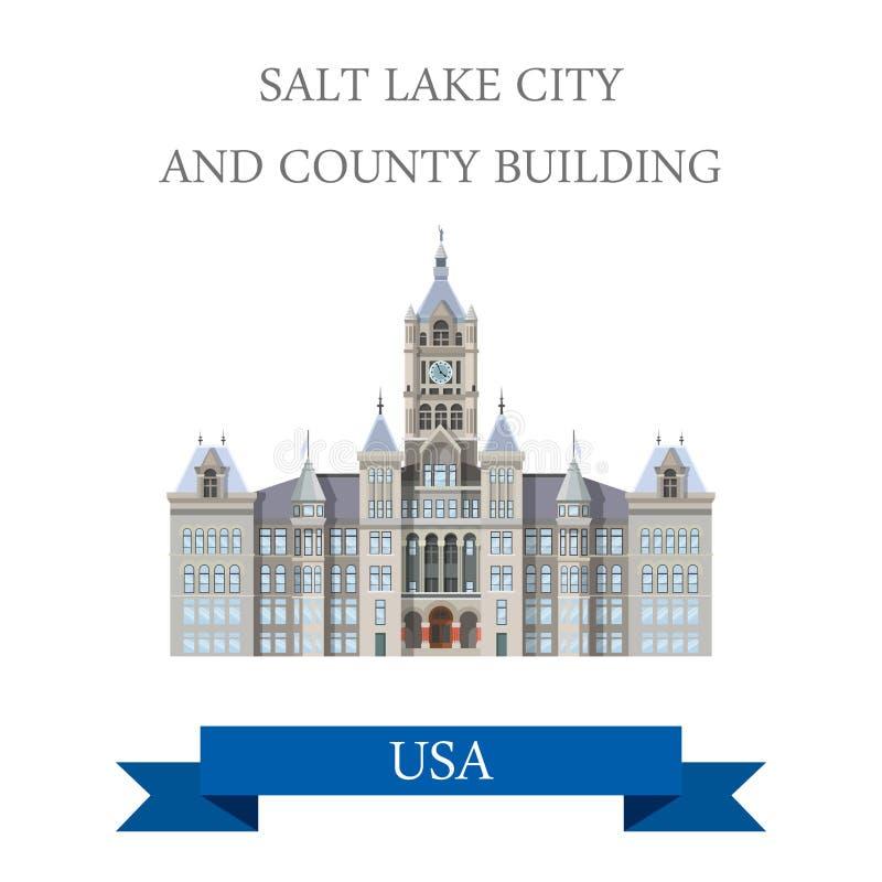 Salt Lake City e condado que constroem Sta unido Utá ilustração royalty free