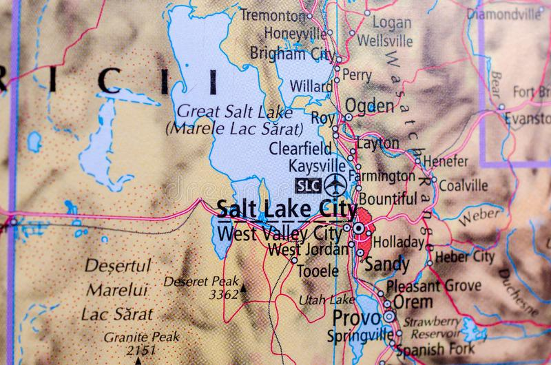 Salt Lake City en mapa imagenes de archivo