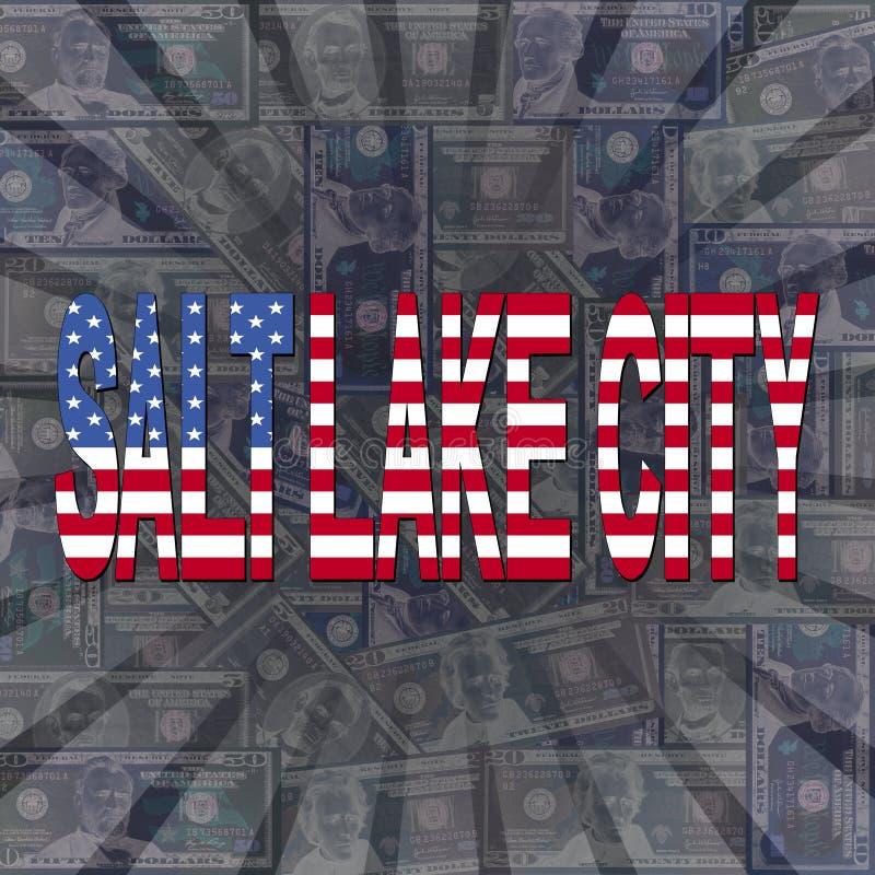 Salt Lake City flaggatext på dollarbristningsillustration stock illustrationer