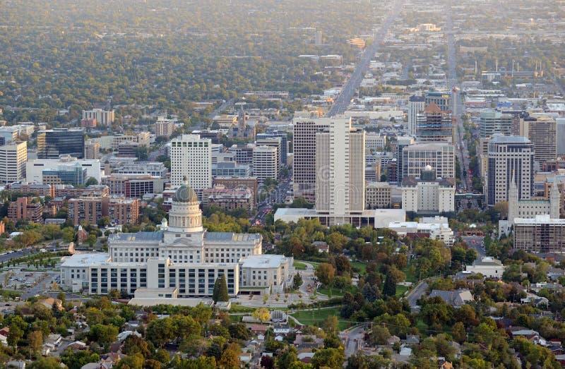 Salt Lake City horisont med Kapitoliumbyggnad, Utah royaltyfri bild