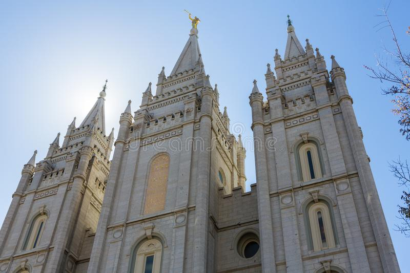 Salt Lake City LDS świątyni iglicy obraz stock