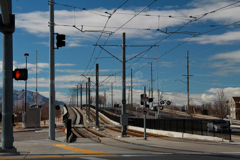 Salt Lake City: Light Rail Train Tracks. Image of the light rail train tracks in West Valley, Utah royalty free stock photography