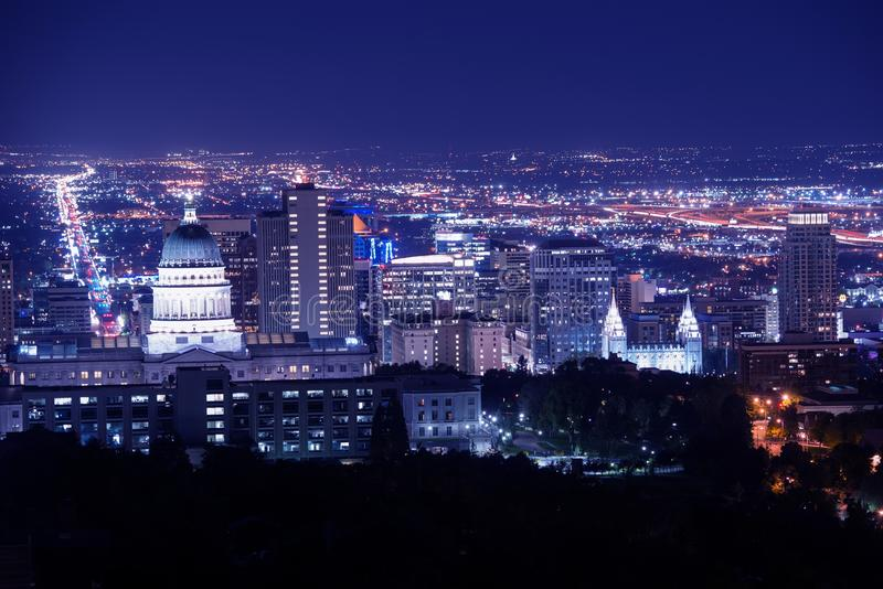 Salt Lake City at Night. Panorama with Capitol Building. Salt Lake City, Utah, United States royalty free stock photography