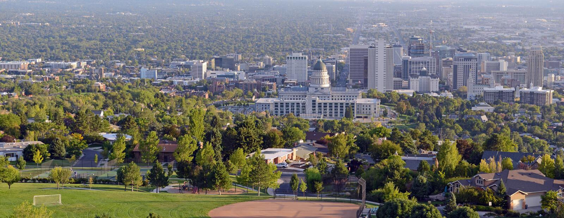 Salt Lake City skyline with Capitol building, Utah stock photo