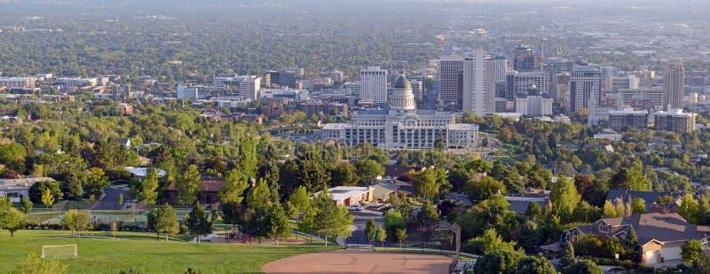 Salt Lake City-Skyline mit Kapitolgebäude, Utah stockfoto