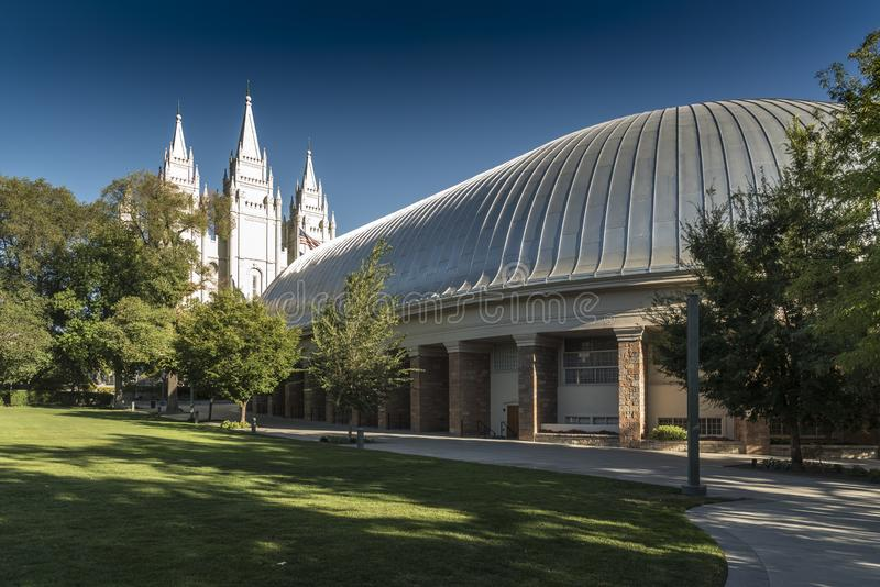 Salt Lake City Tabernacle and Temple Temple Square Salt Lake City. Salt Lake Temple is the centerpiece of the 10-acre 4.0 ha Temple Square in Salt Lake City stock photos