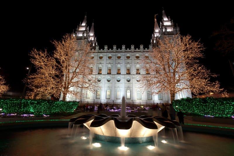 Salt Lake City Temple with Christmas Lights royalty free stock photos