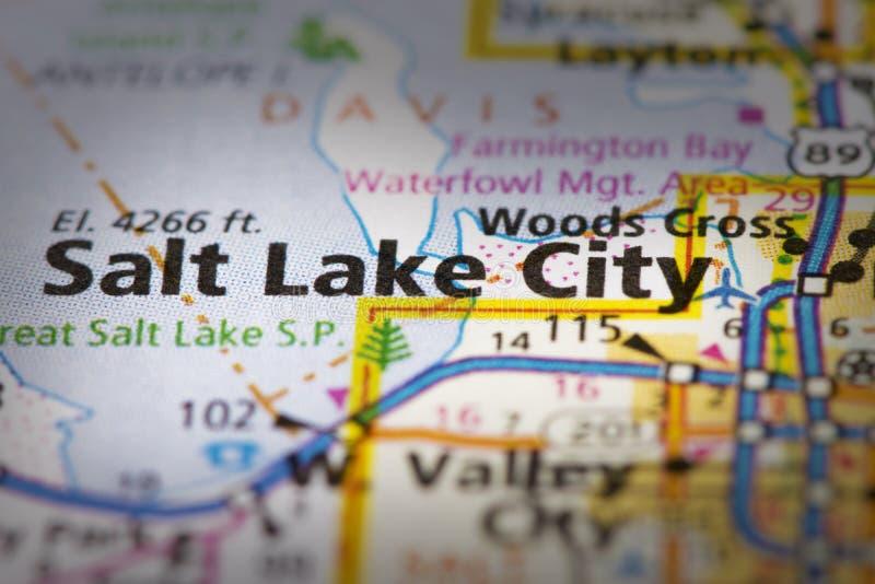 Salt Lake City, Utah on map. Closeup of Salt Lake City, Utah on a road map of the United States royalty free stock photos
