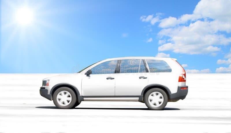 Salt lake desert car stock photo