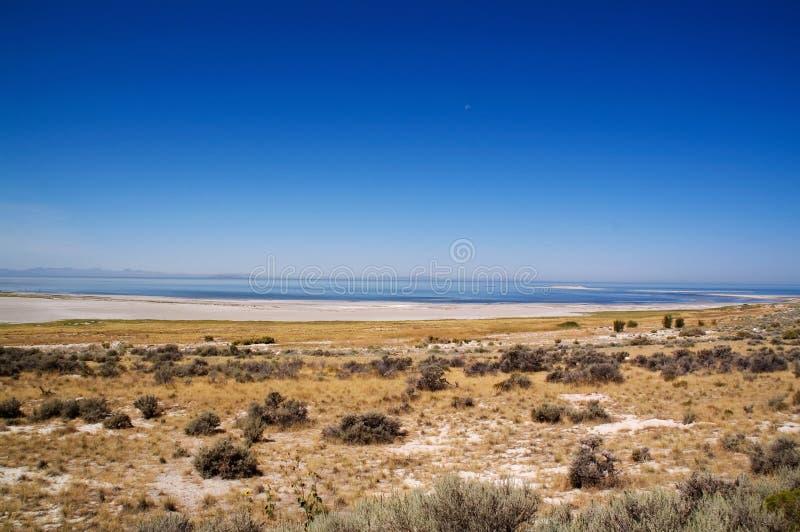 Salt Lake, o céu azul e a lua foto de stock