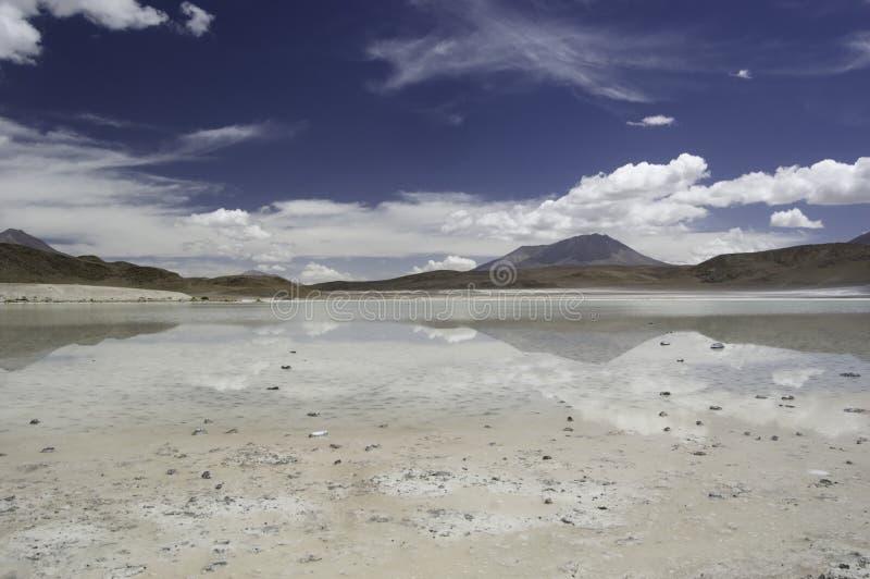 Salt Lake Reflection, Laguna Hedionda stock images