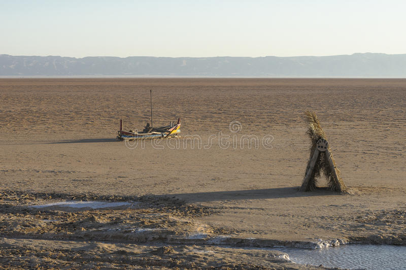 Salt lake in Sahara. Tunisia royalty free stock photography